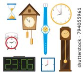vector flat types of clocks set.... | Shutterstock .eps vector #794055961