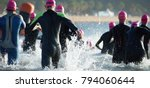 group triathlon participants... | Shutterstock . vector #794060644