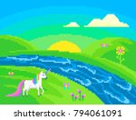 pixel scene with a unicorn on... | Shutterstock .eps vector #794061091