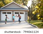 mother and children playing... | Shutterstock . vector #794061124