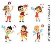 valentine's day party set of...   Shutterstock .eps vector #794061535