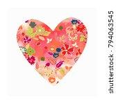 beautiful heart in watercolor... | Shutterstock .eps vector #794063545