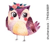 Stock photo watercolor owl with flowers 794064889