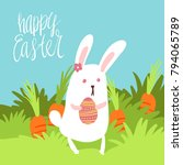 happy easter card template with ... | Shutterstock .eps vector #794065789