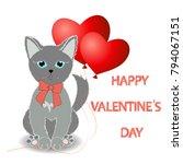 cute kitten wishes happy... | Shutterstock . vector #794067151