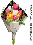 Vector Flowers Bouquet. Pink ...