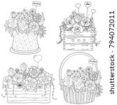 coloring book page of flower... | Shutterstock .eps vector #794072011