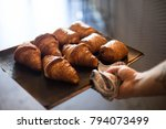 french baker in bakery or cafe... | Shutterstock . vector #794073499