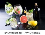 fancy gin and tonic selection... | Shutterstock . vector #794075581