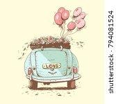 wedding car  vector... | Shutterstock .eps vector #794081524