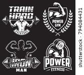 set of monochrome bodybuilding... | Shutterstock .eps vector #794084431