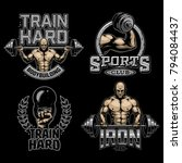 set of bodybuilding colour... | Shutterstock .eps vector #794084437