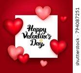 happy valentines day paper.... | Shutterstock .eps vector #794087251
