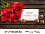 happy valentine day card with... | Shutterstock .eps vector #794087407
