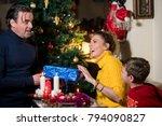 family awaiting christmass ... | Shutterstock . vector #794090827