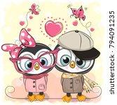 two cute cartoon penguins on a...   Shutterstock .eps vector #794091235