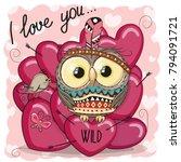 cute cartoon tribal owl with...   Shutterstock .eps vector #794091721