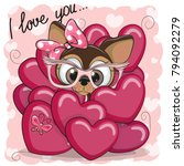 valentine card with cute...   Shutterstock .eps vector #794092279