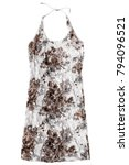 Small photo of Beige lacy halter sundress isolated over white