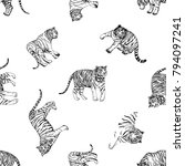 seamless pattern of hand drawn... | Shutterstock .eps vector #794097241