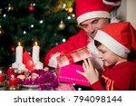 family awaiting christmass ... | Shutterstock . vector #794098144