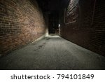 Scary Empty Dark Alley With...