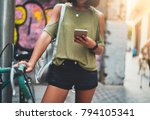 cropped shot of young hipster... | Shutterstock . vector #794105341