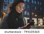 closeup of beautiful smiling... | Shutterstock . vector #794105365