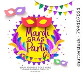 illustration of mardi gras... | Shutterstock .eps vector #794107021
