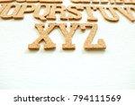wooden english alphabet on... | Shutterstock . vector #794111569