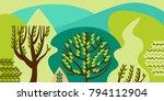 trees broadleaf in a flat style....
