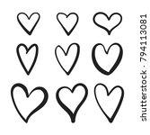 vetor set of doodle hearts.... | Shutterstock .eps vector #794113081