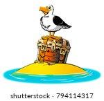 tny island in the ocean. the... | Shutterstock .eps vector #794114317