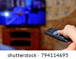 the man with the remote control ... | Shutterstock . vector #794114695