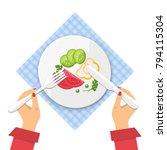 plate of fresh vegetable salad... | Shutterstock .eps vector #794115304