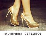 beige shoes female fancy high... | Shutterstock . vector #794115901