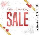 valentine's day sale square... | Shutterstock .eps vector #794116591