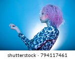 black woman with stylish afro... | Shutterstock . vector #794117461