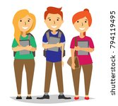 group of teenage students... | Shutterstock .eps vector #794119495