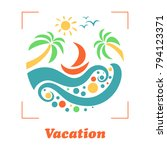 summer travel vacation logo... | Shutterstock .eps vector #794123371