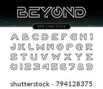 Vector of Futuristic Alphabet Letters and numbers, One linear stylized rounded fonts, One single line for each letter, Thin Letters set for sci-fi, military. | Shutterstock vector #794128375