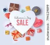 valentines day sale concept.... | Shutterstock . vector #794129899