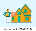 young caucasian white broker... | Shutterstock .eps vector #794130154