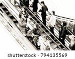 motion escalators at the modern ... | Shutterstock . vector #794135569