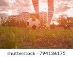 soccer ball in the net   Shutterstock . vector #794136175