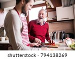 hipster son with his senior... | Shutterstock . vector #794138269