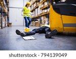 an injured worker after an... | Shutterstock . vector #794139049