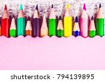 color pencils and colored paper ... | Shutterstock . vector #794139895