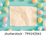 coloeful easter eggs and brown...   Shutterstock . vector #794142061
