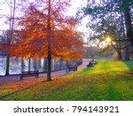 autumn sunset in park